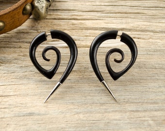 Fake Gauge Earrings Black Spiral Hornet with Metal Tip Gothic Tribal Style Buffalo Black Horn Organic - FG078 HM G1