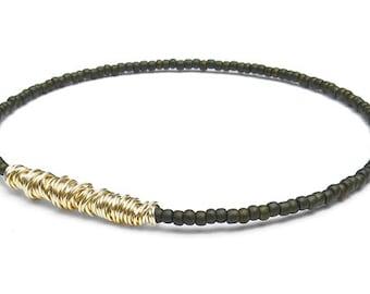 Bangle Bracelet // Eco-Friendly Jewelry // Army Green Gold Seed Bead Bracelet // Friendship Bracelet // Recycle Bangle Bracelet // Military