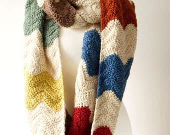 Infinity Scarf, Crochet Patterns, Chevron Ripple, Pattern for Women, Over Sized, Boho Fashion, Winter Scarf, Womans Circle, Loop Scarf