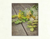 Fall Flower Photograph, Rustic Wall Art, Vertical Photography, Small Artwork, Yellow and Green Wall Decor, Still Life Floral Photo