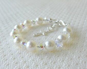 Christening Gift for Girls Bracelet for Baptism Blessing or Communion Flower Girls Gifts Baby Shower Gift Pearl and Sterling Silver Bracelet