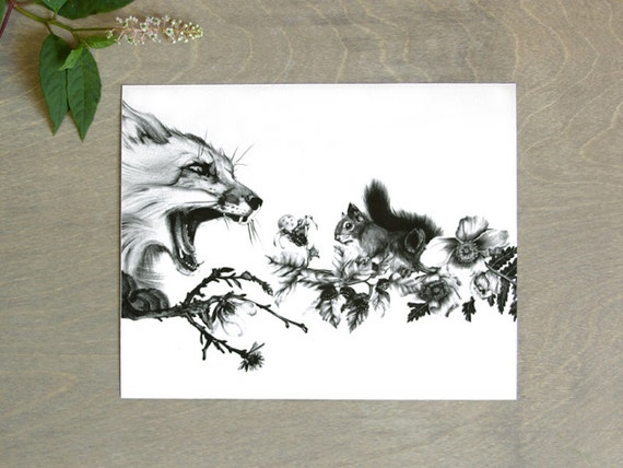 Fox and Squirrel Print 8x10