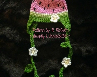 Watermelon Hat - Crochet Pattern 70 - US and UK Terms - Cloche and Earflap - Newborn to Adult - Instant DOWNLOAD