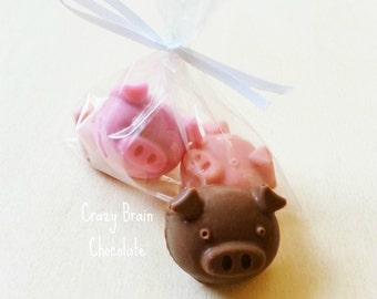 3 Little Pigs Gift Bags (10)- Chocolate Bite Sized Piggies- PARTY FAVORS