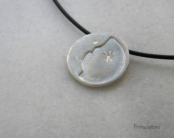 Silver moon necklace, half moon pendant, love you to the moon, moon and star jewels, moon face, crescent moon, moonlight