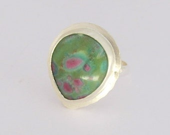 Gemstone Ring, Silver Ring with Ruby and Zoisite Stone, Handmade, Size 7