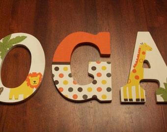 Custom Hand Painted Letters, Sunny Safari Jungle Nursery