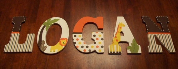 letter never sent custom painted letters safari jungle nursery 4208