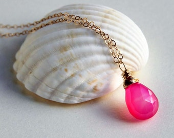 Hot pink bubblegum chalcedony wire wrapped briolette pendant necklace sterling silver or gold filled