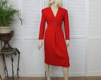 Vintage Red Wool Dress 1980s Size 10