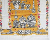 Vintage Linen Dish Hand Towel Gold and White Kitchen Implements