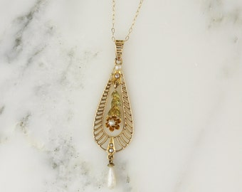 Art Deco Filigree Buttercup Seed Pearl Lavalier Pendant on 14k Gold Chain Necklace