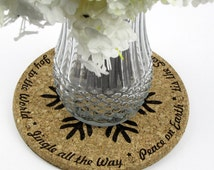 Winter Sayings and Christmas Snowflake Laser-Engraved Cork Trivet for Holiday Dinner Table - Multiple Sizes Available