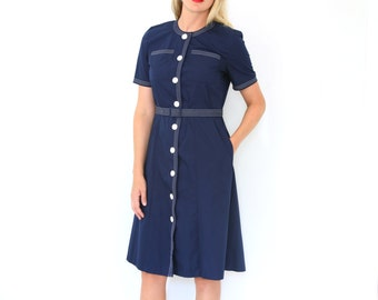 CLOSING SALE Vintage 40s Style Shirt Dress Navy Blue & White Nautical Medium - Large