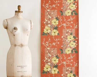 Vintage Floral / Bird Wallpaper on a Burnt Sienna Brown Background - Mid Century