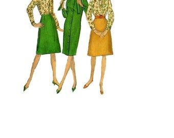 Simplicity 1960s Sewing Pattern Mad Men Style Jacket Skirt Dress Blouse Business Suit A-line Button Front Tie Scarf Collar Bust 32