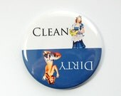 Dishwasher magnet, Clean Dishes, Dirty Dishes, Blue, White, Pinup Girl, kitchen magnet, clean dishes magnet, Magnet, stocking stuffer (3557)