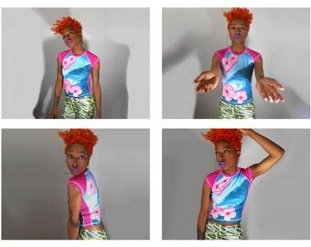 90s Club Kid/ Digital Print Shirt/ Sublimation Shirt/ Sea Punk/ Hawaiian Shirt/ 90s Sporty/ Club Kid Shirt/ Floral Print Shirt/ Tropical