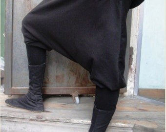 Drop Crotch Black Pants, Pocket Pants, One Size, Jersey Pants