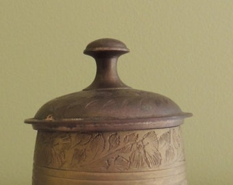 Vintage Indian Footed Canister with Etching