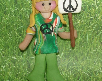 Hippie Peace Sign Christmas Ornament Girl Tie Dye Headband Polymer Clay Cake Topper Bell Bottoms Braids Protest Peaceful Demonstration March