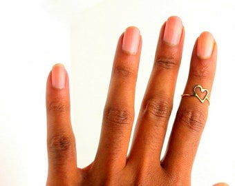 Gold Heart Ring, gold midi gift ring, stackable ring, gold stack midi ring, midi ring, hammered ring, stacking boho ring, knuckle ring