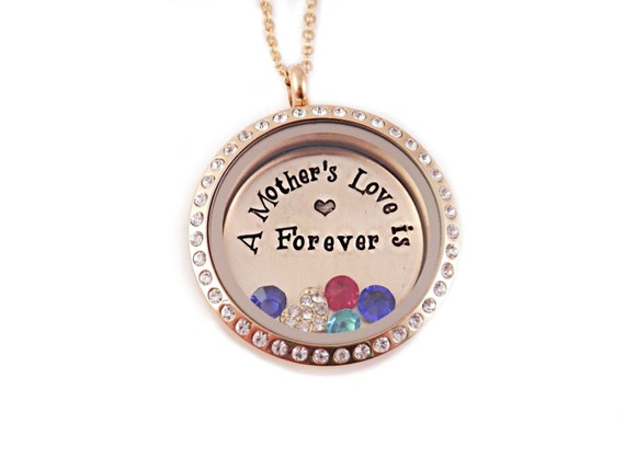 Gold toned personalized a mother s love is forever hand stamped