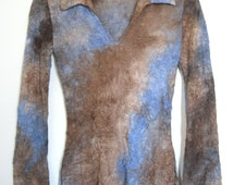 90's Bell Sleeve Tie Dye Top Blue/Brown Textured V-Neck New Age Hippie Pastel Goth Grunge Seapunk // M-L