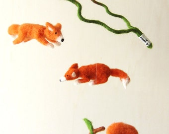 flying foxes - decorative mobile - needle felted