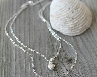 Layered Initial Necklace, 925 sterling silver double chain, Puff heart & two 2 initial discs, personalized, Monogram, letter, 2 two strands