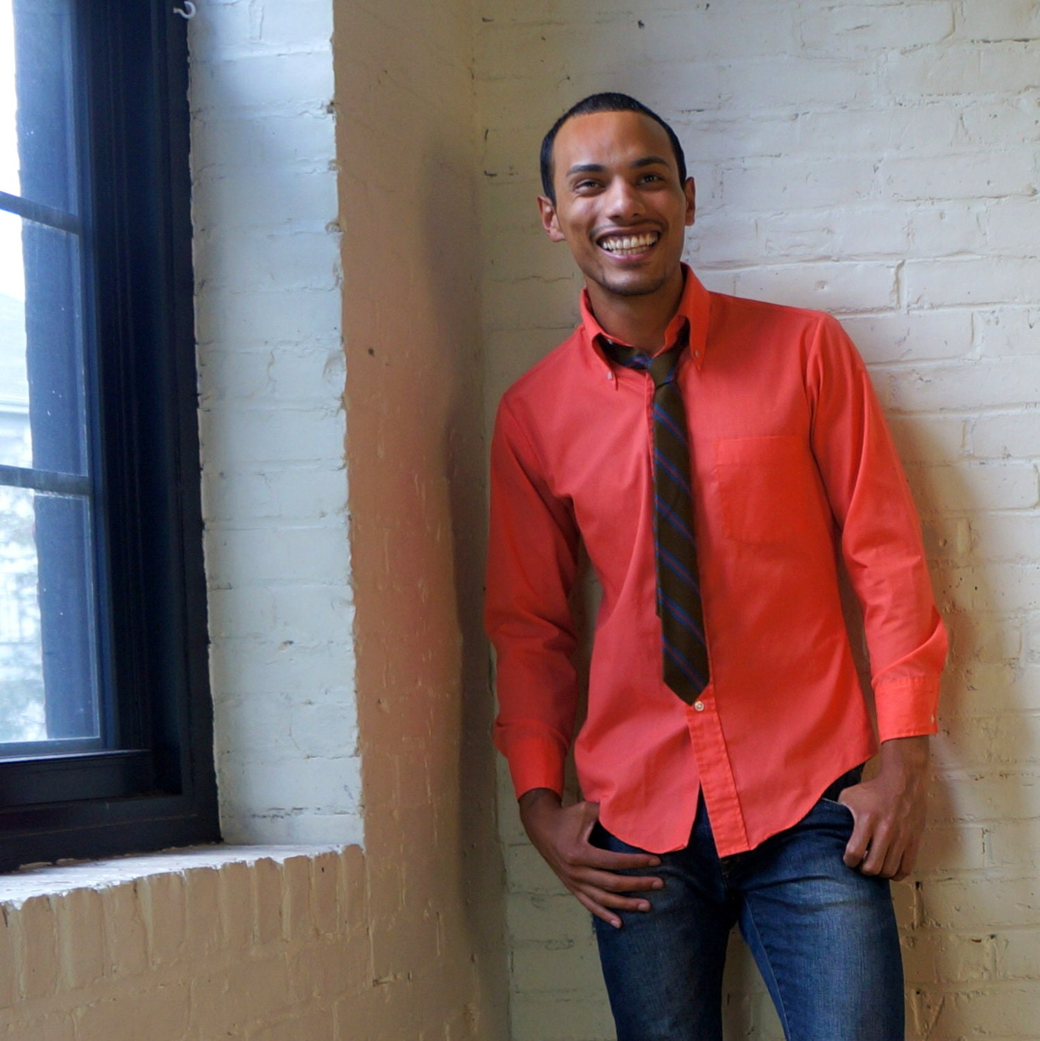 Mens Coral Button Down Shirt Custom Shirt