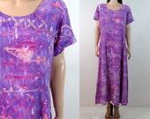 Vintage 90's Dress Large Hippie Dress Large Boho Dress Purple Dress Vintage Maxi Dress Batik Dress  Rayon Dress Large Grunge New Age H