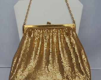 Glamorous Large WHITING& DAVIS Gold Purse Mesh 1920'sVintage