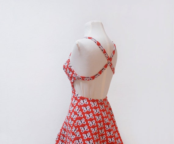 Vintage 50s terry beach dress / terry beach cover up / novelty swimsuit cover up / butterfly / orange / size S small
