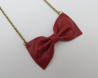 Bow Necklace Handmade Using Recycled Red Leather