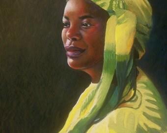 Portrait of an African Woman Fine Art Giclee Print, Original Pastel by Jan Maitland, Archival Print, 8x10