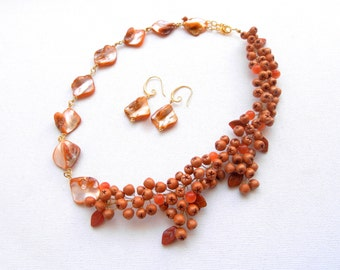 Statement Necklace, Berries, Berry Jewelry, Orange Jewelry, Rowan Berries, Mother Of Pearl, Handmade Necklace Earrings Set, Gift For Her