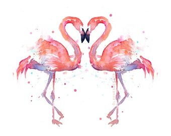 Two Flamingo Birds Watercolor Painting, Love Birds, Anniversary Art, Flamingo Love, Flamingo Watercolor, Lovers, Love, Romantic Print