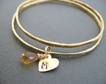 18K Vermeil Gold Bangle bracelet, Personalized Initial charm with Birthstone Bangle, Initial charm bracelet, personalized jewelry