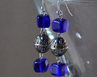 Cobalt Silver Dangle Earrings Boho Royal Blue Cube Glass Beads Long Drop Fashion Jewelry Bohemian Jewellery Paisley Beading Free Shipping