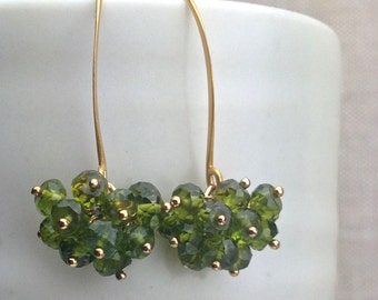Green Vesuvianite Earrings - Rondelle Cluster Drop Gemstone Earrings on 24k Gold Vermeil Ear Wire, Style Number 805