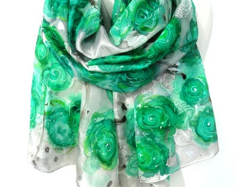 Green Roses Scarf. Silk Scarf. Hand Painted Scarf. Silver Green Scarf. Hand Painted Genuine Art. 18x71in MADE to Order