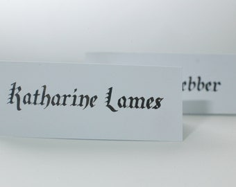 Hand written wedding name place cards - Gothic blackletter
