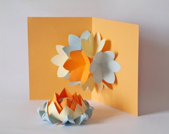 SALE:Pop up Card, Origami Flower - Anniversary. Paper flowers, Blue, Beige, Peach. Big size