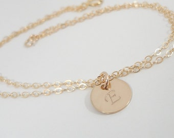 Tiny Gold Filled Initial Bracelet - Dainty Bracelet - Hand Stamped Mommy Jewelry - Delicate Monogram Bracelet