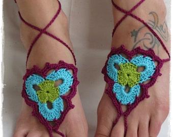 Barefoot Sandals-Crochet-Festival-Yoga-Accessories-Foot Wrap-Egyptian Cotton