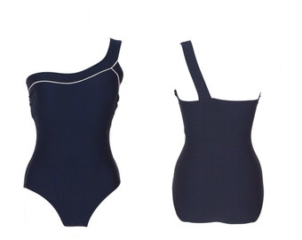 SALE vintage navy one shoulder swimsuit