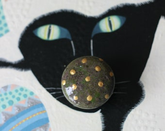 drawer pulls, small knobs, painted knob, decorative drawer pull gold polka dots, moss green decor, cabinet furniture, upscale furniture knob
