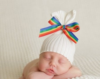 Newborn Hat Upcycled Rainbow Baby Hat Photography Prop READY TO SHIP