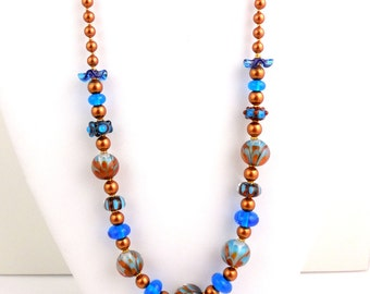 Blue Lotus Beaded Lampwork Necklace, Glass Beads Necklace, Beadwork Necklace, Fashion Jewelry, Career Wear, Gifts, Statement Necklace